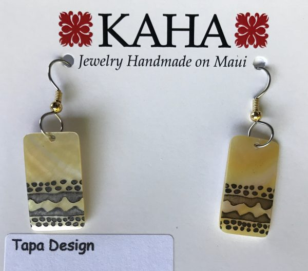 Tapa design mother of pearl earrings by KAHA.